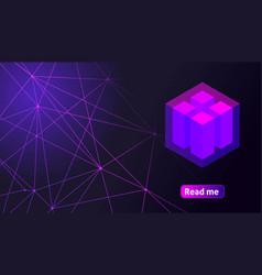 isometric holographic geometric icon crypto curren vector image