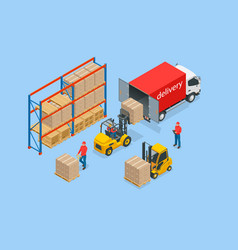 isometric large modern warehouse with forklifts vector image