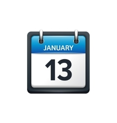 January 13 Calendar icon flat vector image
