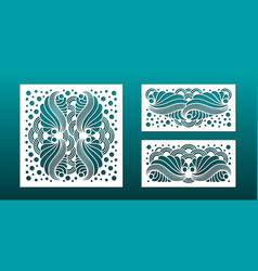 laser cut template set abstract geometric pattern vector image