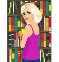 librarian woman in library holding books vector image