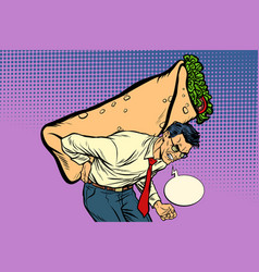 man carries shawarma doner kebab vector image