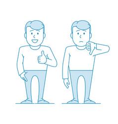 Man shows gesture like dislike vector