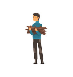 man with a bundle of firewood camping outdoor vector image