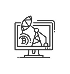 mining rig - line design single isolated icon vector image vector image