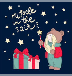 Miracle merry christmas color vector
