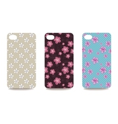 Mobile phone cover back set with floral pattern vector image