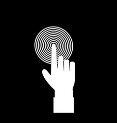 Monochrome of index finger pointing to the target vector
