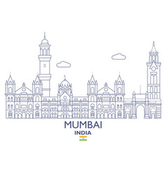 mumbai city skyline vector image