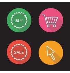 Online shop flat linear icons set vector