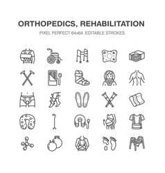 Orthopedics trauma rehabilitation line icons vector