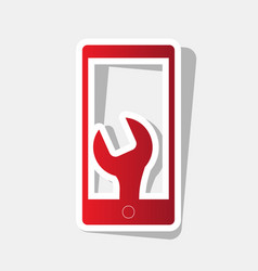 phone icon with settings new year reddish vector image