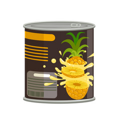 Pineapple slices in aluminum can with ring-pull vector