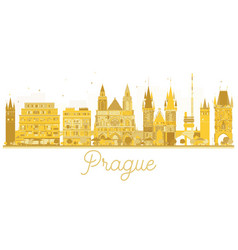 Prague city skyline golden silhouette vector