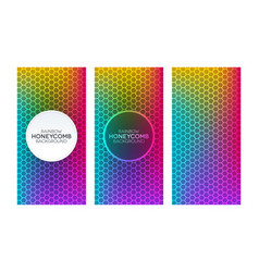 Rainbow gradient banners with honeycomb textures vector