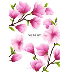 Realistic magnolia flower frame vector