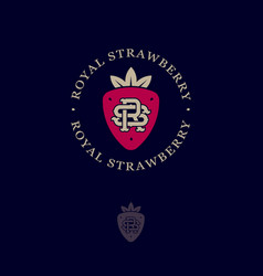 Royal strawberry logo leaves like crown r s vector