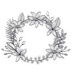 Rustic circular seal wreath vector