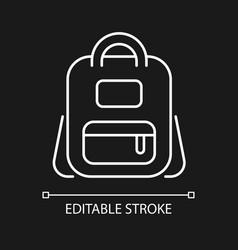 Schoolbag white linear icon for dark theme vector