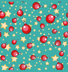 seamless pattern christmas ball tree ornament vector image
