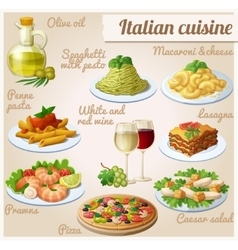 set food icons italian cuisine spaghetti vector image