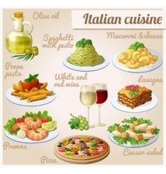 Set food icons italian cuisine spaghetti vector