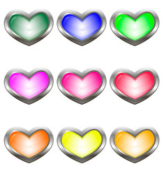 Set of colored buttons in the shape of a heart vector