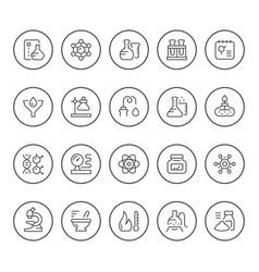 set round line icons chemistry vector image