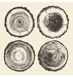 Set tree trunks Annual saw cut drawn vector