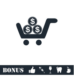 shopping cart icon flat vector image