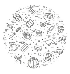 Simple set of meat related line icons vector