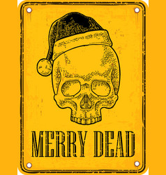 skull santa claus with hat on sign danger black vector image