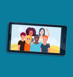 smartphone with happy teen friends displaying on vector image