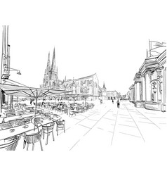 Street cafe on background basilica vector