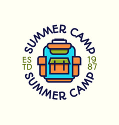 summer camp logotype color style vector image