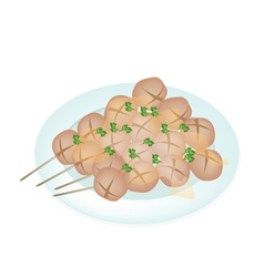 Thai Style Grilled Meatball in White Plate vector image