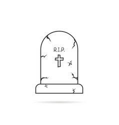 Thin line simple tombstone vector