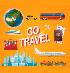 travel accessories collection go travel concept vector image