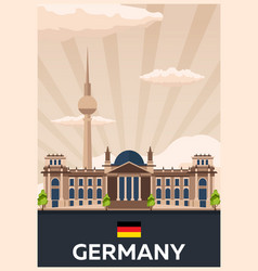Travel poster to germany flat vector