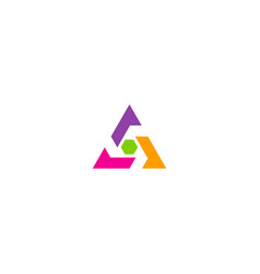 triangle colorful technology logo vector image