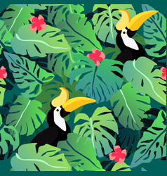 tropical leaves seamless pattern with hornbill vector image