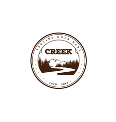 Vintage retro river creek mountain pine cedar vector