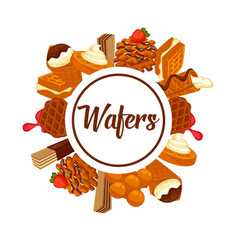 Wafers and waffles dessert cookie or cake desserts vector