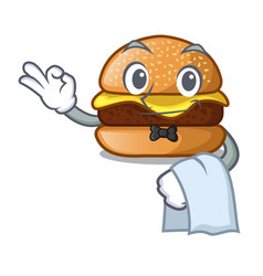 waiter cheese burger located on plate cartoon vector image