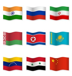 Waving flags of Russian ally countries vector