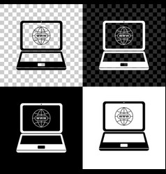 website on laptop screen icon on black white and vector image