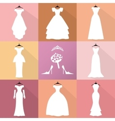 Wedding IconsDresses silhouette setFashion flat vector