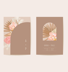 wedding watercolor orchid flowers invitation dry vector image