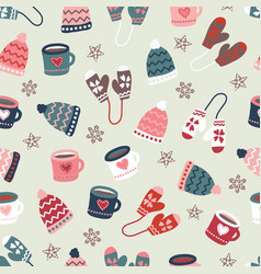 winter time warm clothes cookies and mugs seamless vector image