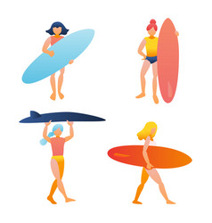 Woman girl holding surfboard vector